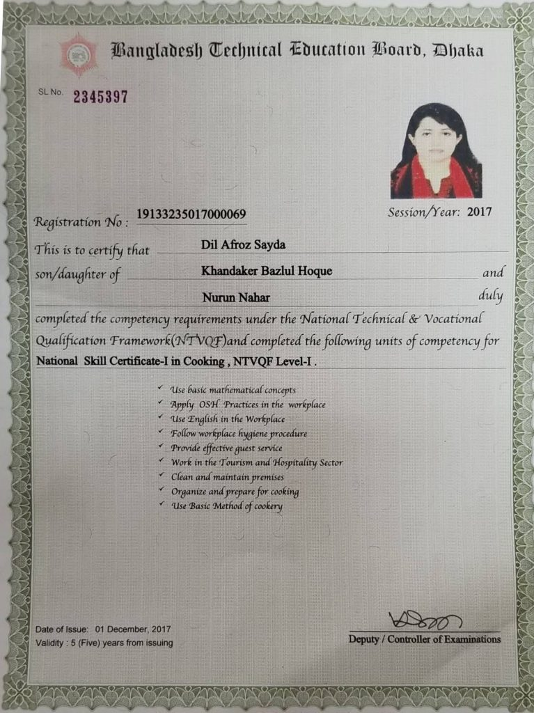 7. National Skill Certificate course Cooking (BTEB)