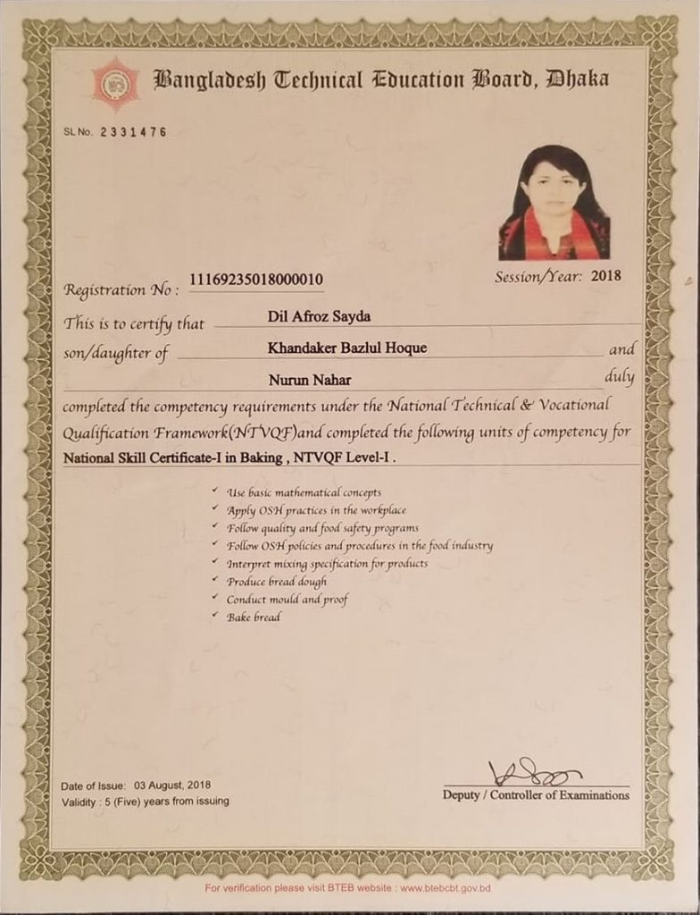 9. National Skill Certificate Course Baking (BTEB)